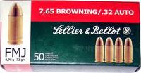 7,65 mm BROWNING/.32 AUTO FMJ 4,75g - Sellier & Bellot